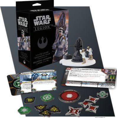 Star Wars: Legion - 1.4-FD-Lasergeschütz-Team verpackung vorderseite mit bemaltem modell inhalt details karten marker
